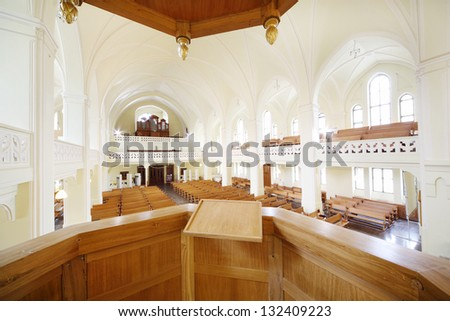 MOSCOW - APR 11: Pulpit for preacher in Evangelical Lutheran Cathedral of Sts. Peter and Paul, Apr 11, 2012, Moscow, Russia. In July 1992 he was transferred to Lutheran community building of cathedral - stock photo