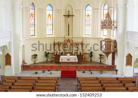 MOSCOW - APRIL 11: Altar in Evangelical Lutheran Cathedral of Sts. Peter and Paul on April 11, 2012 in Moscow, Russia. During the period from 2004 to 2008 were carried out extensive restoration work. - stock photo