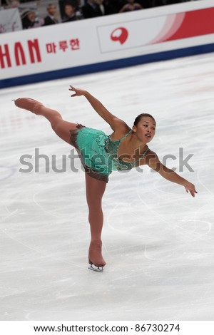 """MOSCOW - APRIL 30: Cheltzie Lee competes in single ladies free figure skating at the 2011 World Championship on April 30, 2011 at the Palace of sports """"Megasports"""" in Moscow, Russia. - stock photo"""