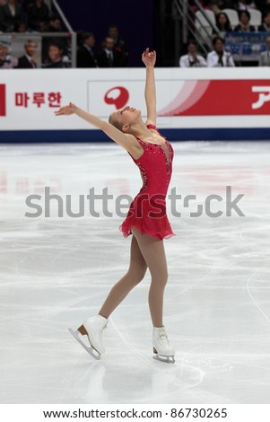 """MOSCOW - APRIL 30: Julia Turkkila competes in single ladies free figure skating at the 2011 World Championship on April 30, 2011 at the Palace of sports """"Megasports"""" in Moscow, Russia. - stock photo"""