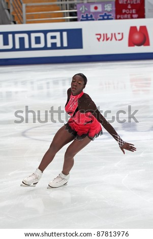 """MOSCOW - APRIL 30: Mae Berenice MEITE competes in the single ladies free figure skating event at the 2011 World championship on April 30, 2011 at the Palace of sports """"Megasport"""" in Moscow, Russia. - stock photo"""