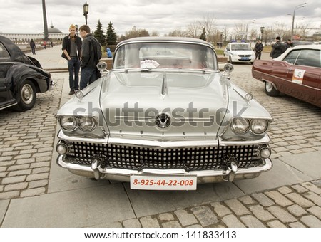 MOSCOW -?? APRIL 21: retro car cadillac on rally of classical cars on Poklonnaya hill,  April 21, 2013, in town Moscow, Russia.  - stock photo