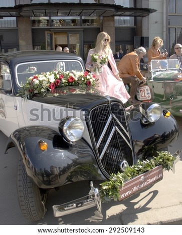 MOSCOW - APRIL 27, 2014: retro car citroen on rally of classical cars, organized by Russian Club of Classical Autocars on Theatre square.