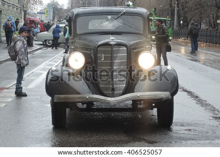 MOSCOW - APRIL 16, 2016: Retro car shown at Moscow Tram holiday 2016 in Moscow city historical center, on Chistiye prudy. - stock photo