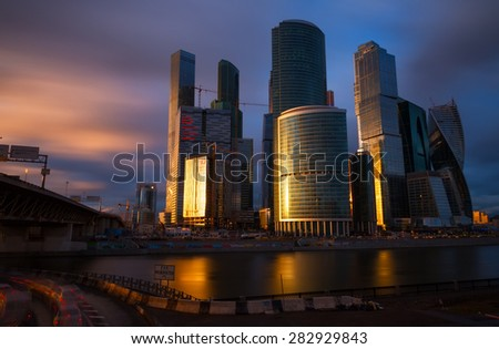 MOSCOW - APRIL 14, 2015: The Moscow International Business Center, Moscow-City . Located near the Third Ring Road, the Moscow-City area is currently under development.; - stock photo