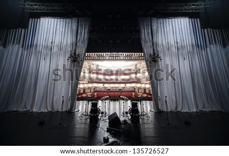 MOSCOW - APRIL 23: View from stage at auditorium in Vakhtangov Theatre on April 23, 2012 in Moscow, Russia. Auditorium of Large stage of theater accommodates 1055 people. - stock photo