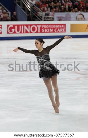 """MOSCOW - APRIL 30: Yuna Kim competes in the single ladies free figure skating event at the 2011 World championship on April 30, 2011 at the Palace of sports """"Megasport"""" in Moscow, Russia. - stock photo"""