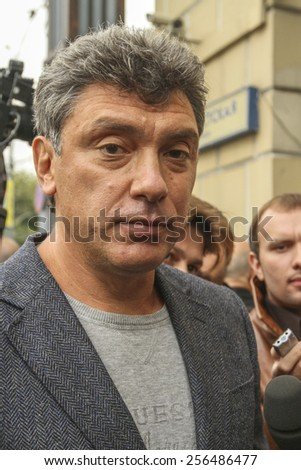 MOSCOW - AUG 31, 2010: Boris Nemtsov - russian statesman, one of the leaders of opposition during anti-Putin protest. Boris Nemtsov was killed in the night of Feb 28, 2015 in center of Moscow. - stock photo