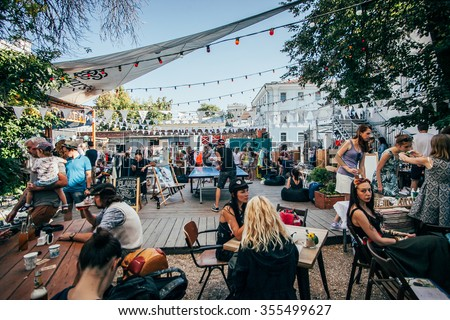MOSCOW - 22 AUGUST, 2015 : Popular hipster event called design market Le Picnic took place at Dewars Powerhouse and gathered young designers and artists - stock photo