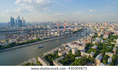 Moscow city and tec 12 plant. aerial photo. - stock photo