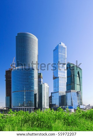 Moscow City complex under construction. - stock photo