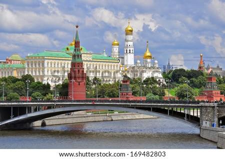 Moscow city panorama with Kremlin church - stock photo