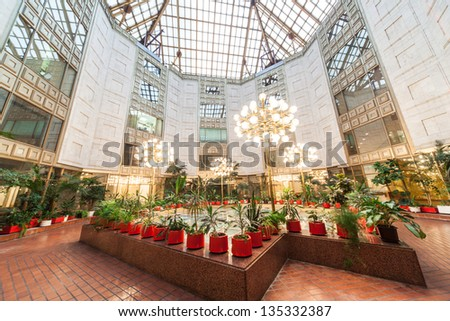MOSCOW - DEC 9: Panoramic of the Winter Garden of the Academy of Sciences on December 9, 2010 in Moscow, Russia. - stock photo