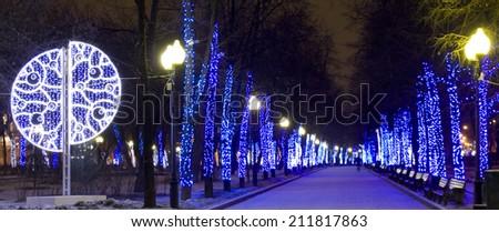 MOSCOW - DECEMBER 03, 2014: Chistoprudniy boulevard (Chistiye prudi) illuminated for Christmas and New Year holidays. - stock photo
