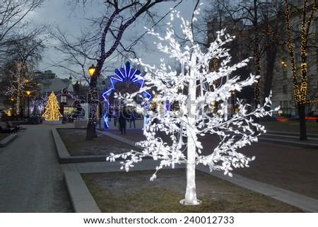 MOSCOW - DECEMBER 22, 2014: Christmas illumination on Tverskoy boulevard street. - stock photo
