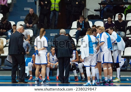 MOSCOW - DECEMBER 4, 2014: Dynamo Moscow team on timeout on the International Europe bascketball league match Dynamo Moscow vs Maccabi Ashdod Israel in sport palace Krilatskoe, Moscow, Russia - stock photo