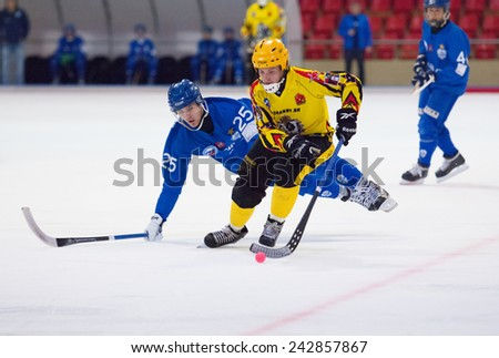 MOSCOW - DECEMBER 12, 2014: Flying Granovsky Vasily (25) fall down during the Russian  bandy league game Dynamo Moscow vs SKA Neftyanik in sport palace Krilatskoe, Moscow, Russia. Dynamo won 9:1 - stock photo