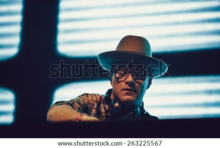 MOSCOW - 5 DECEMBER, 2014 : James Lavelle aka Unkle performing at Yotaspace Nightclub - stock photo