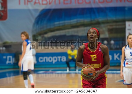 MOSCOW - DECEMBER 4, 2014: L. Jackson (12) on free throw oi the International Europe bascketball league match Dynamo Moscow vs Maccabi Ashdod Israel in sport palace Krilatskoe, Moscow, Russia.  - stock photo