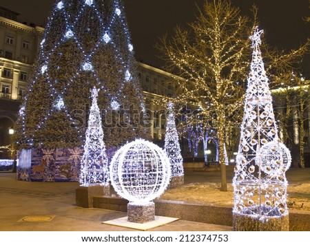 MOSCOW - DECEMBER 28, 2013: Tverskaya street illuminated for Christmas and New Year holidays. - stock photo