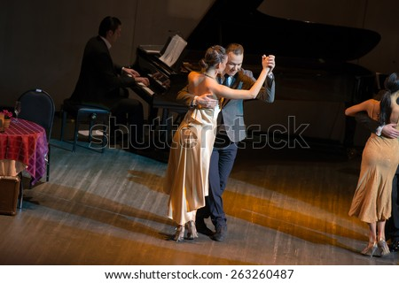 MOSCOW - FEBRUARY 27: Dancers Alexander Pukhov and Natalia Gavrilova in musical dance show Tango de Buenos Aires in the Chamber Hall of the Moscow House of Music on February 27, 2015 in Moscow, Russia - stock photo