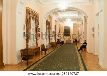 MOSCOW - FEBRUARY 27: Interior of rose foyer at Moscow Conservatory on February 27, 2015 in Moscow. Moscow Conservatory is one of most prestigious higher musical education institution in the world. - stock photo