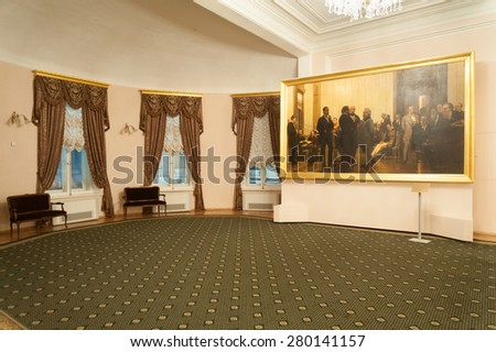 MOSCOW - FEBRUARY 27: Large painting and windows decorated with curtains in foyer of Moscow Conservatory on February 27, 2015 in Moscow.  Moscow Conservatory is higher musical education institution. - stock photo