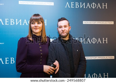 MOSCOW - JANUARY, 28: Actress A. Ukolova, actor Alexei Rozin. Premiere of the movie Leviathan at Moscow Cinema,  January, 28, 2015 in Moscow, Russia - stock photo