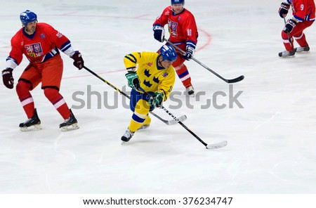 MOSCOW - JANUARY 29, 2016: Anders Carlsson (10) in action during hockey game Sweden vs Czech on League of World legends of Ice hockey championship in VTB ice arena, Russia. Czech won 8:2 - stock photo