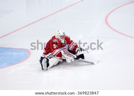 MOSCOW - JANUARY 15: E. Ivannikov (31) training during hockey game Spartak vs Admiral on Russian KHL premier hockey league Championship on January 15, 2016, in Moscow, Russia. Spartak won 5:4 - stock photo