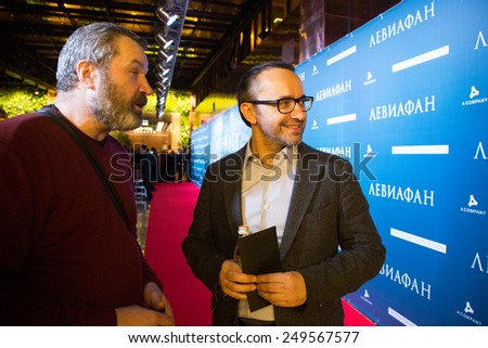 MOSCOW - JANUARY, 28: V.Grishko, A. Zvyagintsev. Premiere of the movie Leviathan at Moscow Cinema,  January, 28, 2015 in Moscow, Russia - stock photo