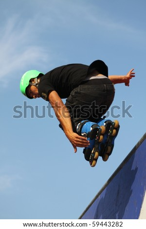 MOSCOW - JULY 31: Luzhniki Olympic arena, Anthony Avella performs a jump - Stage of a cup of Europe on July 31, 2010 in Moscow - stock photo