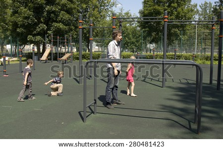 MOSCOW - JULY 01, 2014: people restl in park Izmaylovsky, the biggest park of Europe. - stock photo