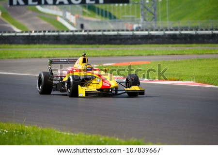 MOSCOW - JULY 13: Stoffel Vandoorne of Renault F2.0 team racing at the Moscow Raceway circuit in the Eurocup Formula Renault 2.0 on July 13, 2012 in Moscow, Russia - stock photo