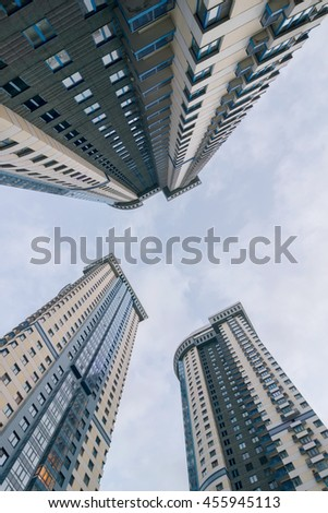 MOSCOW - JUN 12, 2016: Apartments complex Sparrow Hills (Vorobyovy Gory), This complex was build by Don-stroy - one of leading developing company in Moscow - stock photo