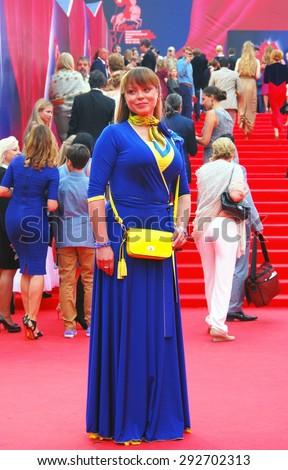 MOSCOW - JUNE 19, 2015: Actress Natalia Gromushkina at XXXVII Moscow International Film Festival red carpet opening ceremony. - stock photo