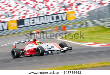 MOSCOW - JUNE 23: Ed Jones of Fortec Motorsports team (GBR) race at Formula Renault 2.0 race at World Series by Renault in Moscow Raceway on June 23, 2013 in Moscow - stock photo