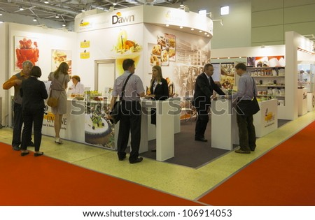 MOSCOW-JUNE 15:Exposition of the American confectionery company DAWN at the international exhibition MODERN BAKERY 2012 on June 15, 2012 in Moscow - stock photo
