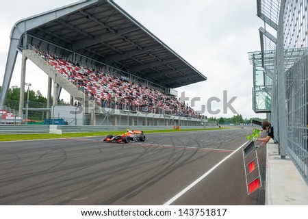 MOSCOW - JUNE 23: Niigel Melker of Tech 1 R team (FRA) race at World Series by Renault in Moscow Raceway on June 23, 2013 in Moscow - stock photo