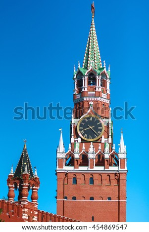Moscow Kremlin, Red Square. Spasskaya (Savior's) clock tower  - stock photo