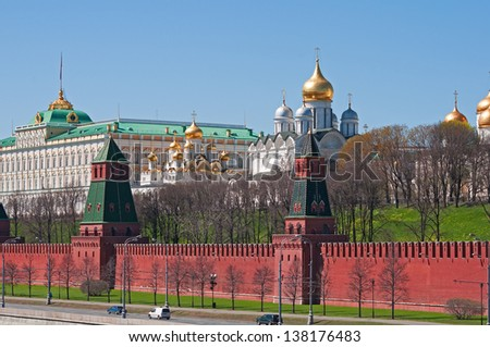 Moscow Kremlin. Wall and churches. - stock photo