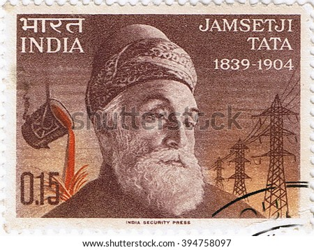 MOSCOW  ?? MARCH 22, 2016: A stamp printed in India shows a portrait of the founder of steel industry Jamsetji Tata, circa 1965 - stock photo