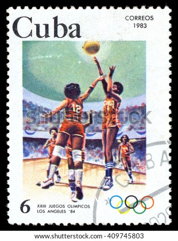 MOSCOW, March 29, 2016: CUBA - CIRCA 1983: A stamp printed in CUBA shows basketball, series Olympic Games Los Angeles-84, circa 1983 - stock photo