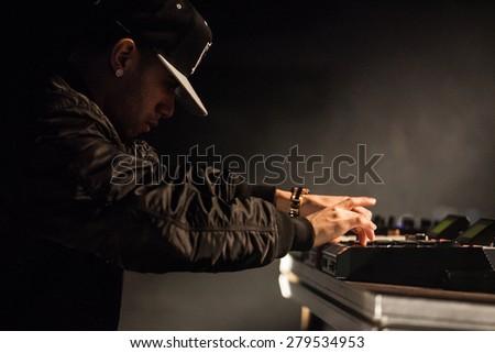 MOSCOW - 7 MARCH, 2015 : Famous hip-hop producer Abraham Orellana aka Araabmuzik playing live in Russia - stock photo