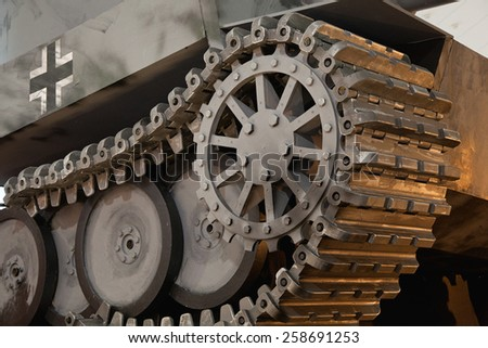 "Moscow - March 7: Moscow State Exhibition Hall ""New Manege"", the exhibition ""Remember"" replica German tank of the Second World War, Russia, Moscow, March 7, 2015 - stock photo"