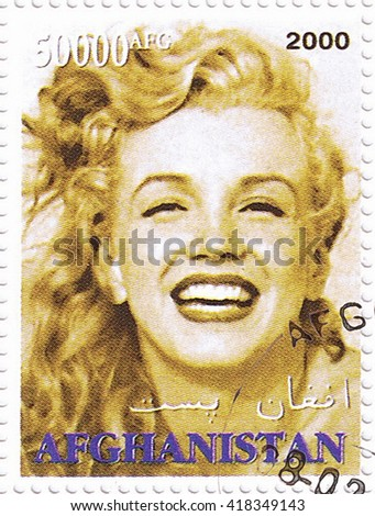 MOSCOW - MAY 10, 2016: A stamp printed in Afghanistan depicting an image of legendary Hollywood actress Marilyn Monroe, circa 2000 - stock photo