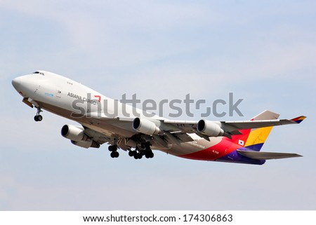 MOSCOW - MAY 10, 2013: Asiana Cargo Boeing 747 takes off Domodedovo International Airport, Russia. - stock photo