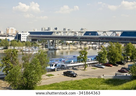 MOSCOW - MAY 23, 2010: Bagrationovsky bridge on Moscow-river, has been built in 1997. - stock photo