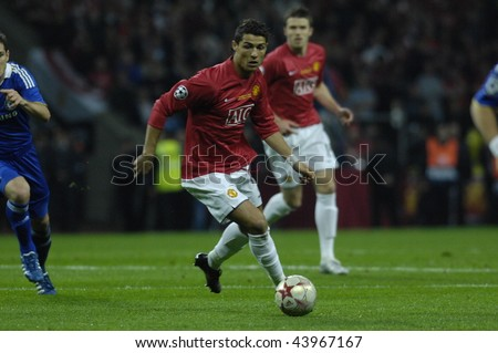 MOSCOW - MAY 21: Cristiano Ronaldo of Manchester United during the UEFA Champions League 2007/08 Final match Manchester United-Chelsea 1:1 (6:5 after the penalties). May 21, 2008, in Moscow, Russia - stock photo