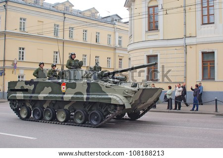 MOSCOW-MAY 9: Infantry fighting vehicle BMP-3 at the  Victory Day Parade on May 9, 2012 in Moscow - stock photo